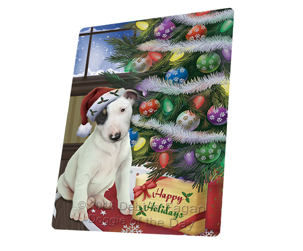 Christmas Bull Terrier Dog Presents Woven Throw Sherpa Blanket T444