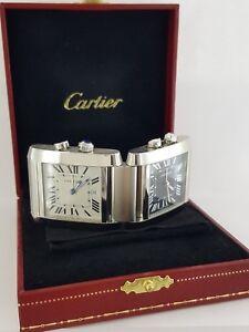 New-Cartier-Tank-Francaise-2945-Dual-Time-Alarm-Desk-Quartz-Clock-w-Box