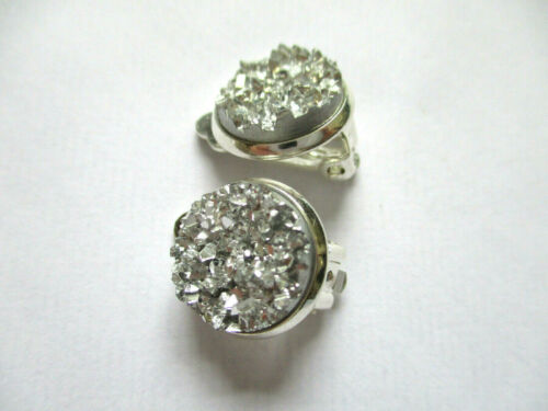 SILVER SPARKLING DRUZY RESIN ROUND CLIP ON EARRINGS 12MM