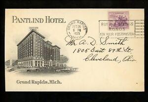 US-Postal-History-732-Advertising-Pantlind-Hotel-1935-Grand-Rapids-MI-to-OH