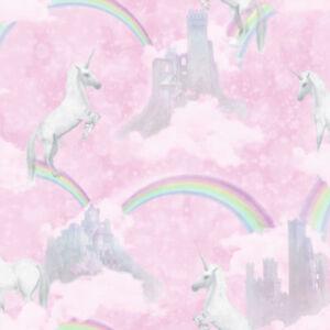 Pink Unicorn Fairytale Wallpaper Glitter Girls Kids Girly Rainbow