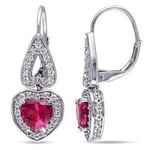 Amour-Sterling-Silver-Created-Ruby-and-White-Sapphire-Heart-Leverback-Earrings