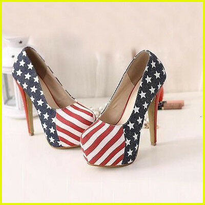 American Flag Sexy  Women Stiletto Platform High Heel Pump Shoes Thin Lady Shoes