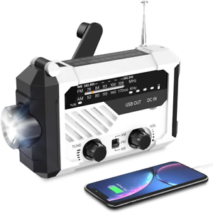 Solar Hand Crank Emergency Radio 2000mAh NOAA/AM/FM Portable Reading Lamp LED