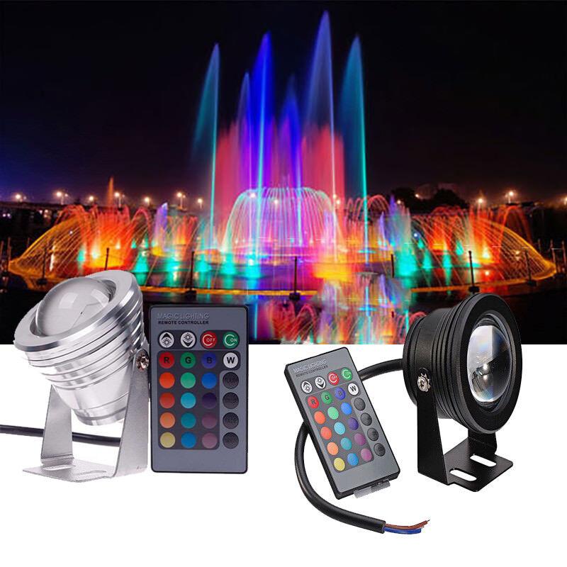 RGB Remote IP68 10W Waterproof LED Light Underwater Fountain Pool Pond Spotlight
