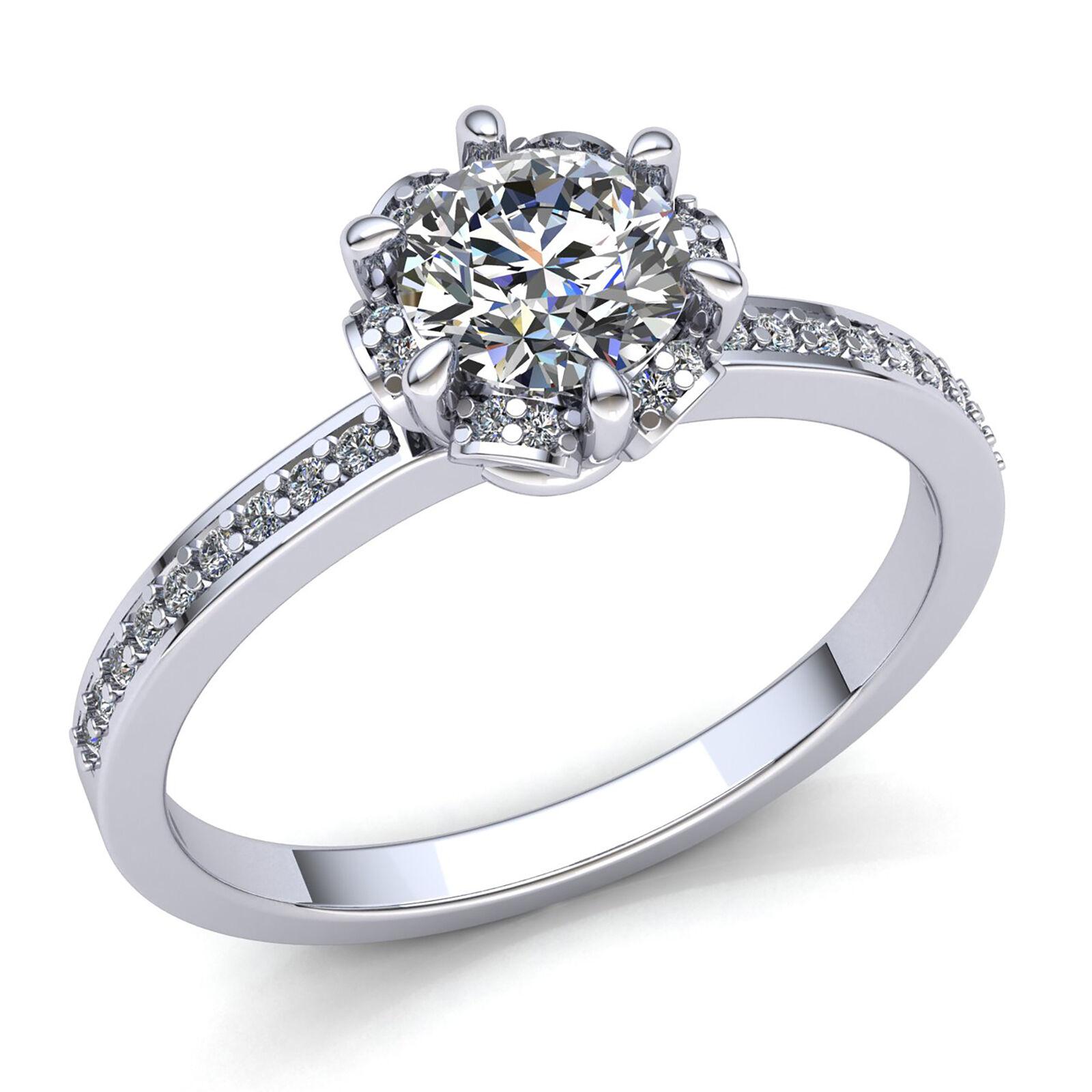 1ct Round Cut Diamond Ladies Bridal Accent Solitaire Engagement Ring 14K gold