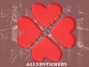 100% De Qualité Autocollant Résine 3d Relief Coeur Trèfle - Couleur Rouge 80x80 Mm.