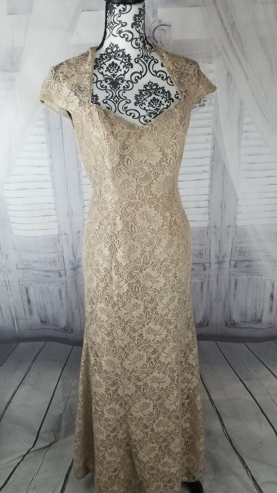 Jade Couture Evening lace bling dress sz 4 small long cocktail party formal wedd