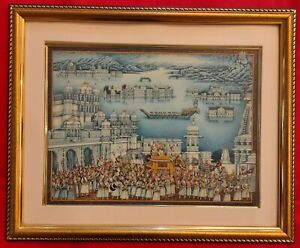 Hand-Painted-King-Procession-Miniature-Painting-India-Artwork-Udaipur-Framed