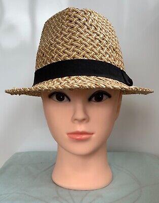 ** Dorothy Perkins ** Women's Bianco + Beige Carta Paglia Fedora Cappello Di Estate 55cm-mostra Il Titolo Originale