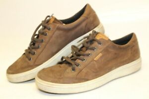 ECCO-Mens-45-11-11-5-Brown-Leather-Sneakers-Casual-Lace-Up-Shoes