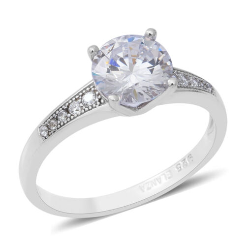ELANZA White Cubic Zirconia Solitaire Ring Accents 925 Sterling Silver