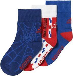 adidas x Marvel Little Kids Spiderman Socks 3 Pairs Size 3-5.5 RRP £15 CD2696