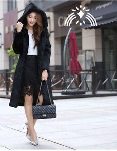 avec longues vraies femmes capuche fourrure de veste mode de Manteau laides de lapin OXYUP4Yq