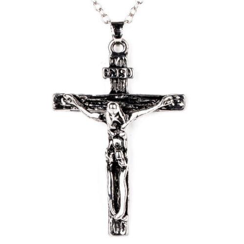 Homme Acier Inoxydable Pendentif Collier Jésus Chrétien Crucifix Croix