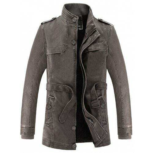 GIACCA IN PU LEATHER EFFETTO VINTAGE, CAFFE'  TG. XL (L) - NUOVO