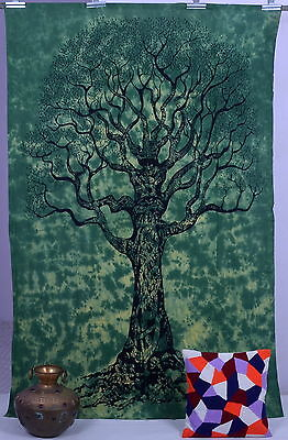 Indian Green Tree Of Life Psychedelic Wall Hanging Tapestry Throw Ethnic Art