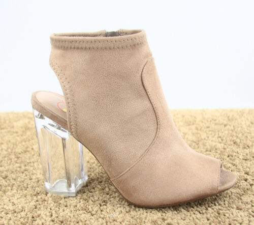 Women/'s Open Toe Clear Chunky Perspex Heel Booties Sandal Shoes Size 5.5-11