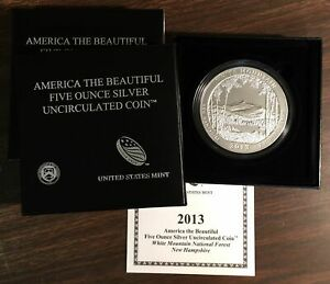 2013P-ATB-White-Mountain-uncirculated-5-troy-oz-999-pure-New-Hampshire