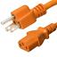 Orange 1 ft AC Power Cord 5-15P to C13 Iron Box IBX-2824 15A//125V 14 AWG