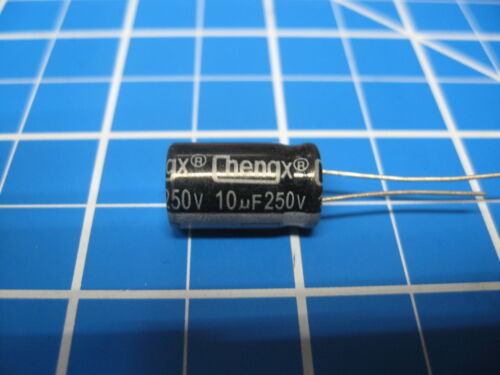 250V 10uF Radial Electrolytic Capacitors 5 Pieces Imported