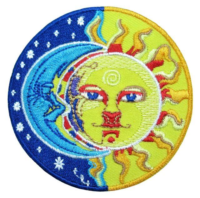 Moon Sun Yin Yang Stars Sign Symbol Biker Embroidered Iron On