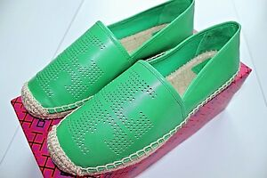 a9fc82872526 NIB Authentic TORY BURCH Perforated Logo Leather Flat Espadrille in ...