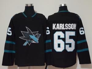 Erik-Karlsson-San-Jose-Sharks-65-stitched-jersey-men-039-s-player-game