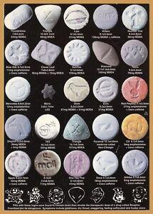Men's Ladies T SHIRT drugs ecstasy chart mdma E ...