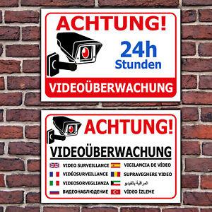 Details Zu Schild Videoüberwachung Aufkleber Warnschild Hinweisschild In 9 Sprachen Querf