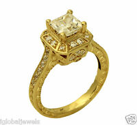 2.00 Ct 14k Yellow Gold Vintage Antique Princess Engagement Propose Promise Ring