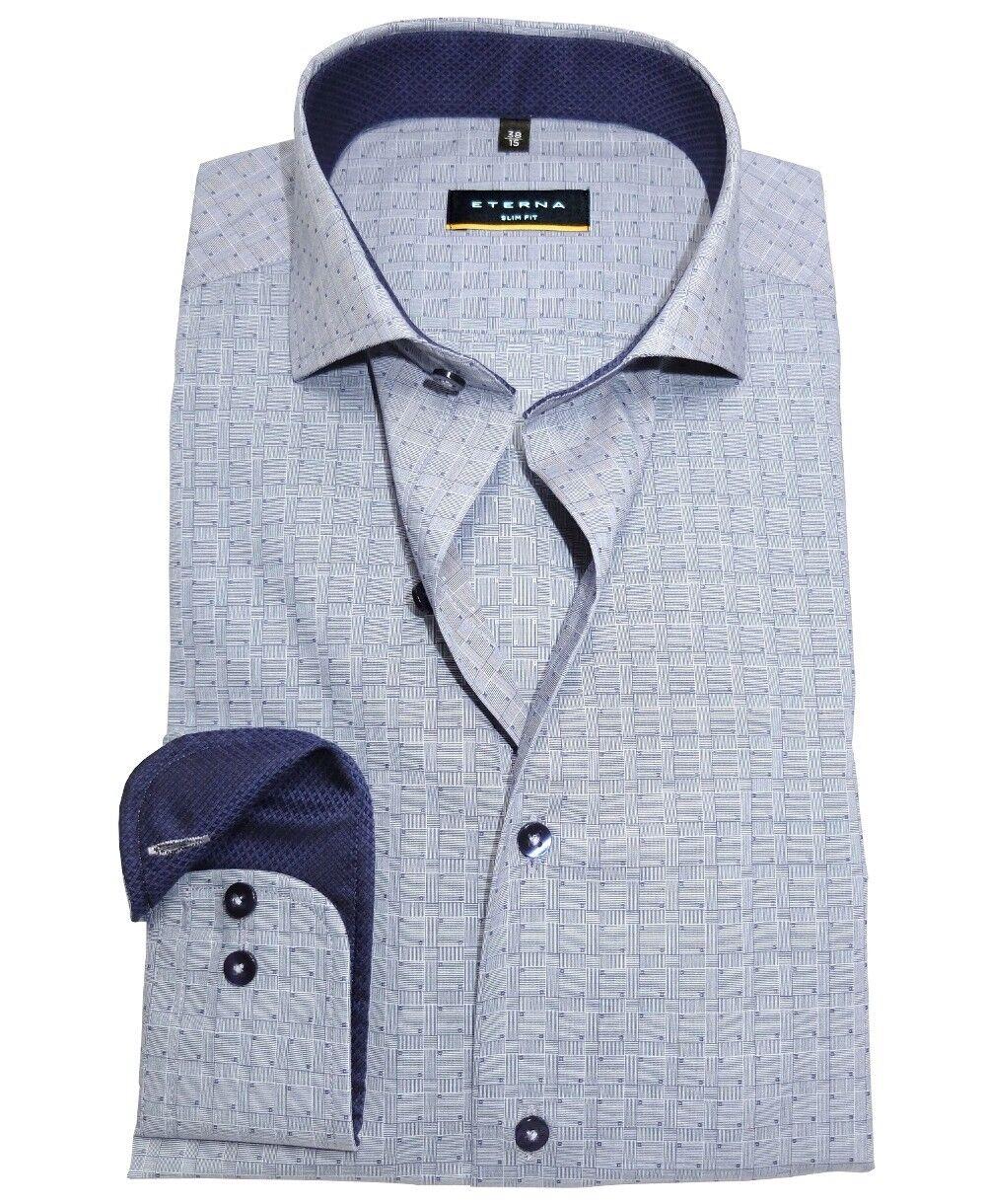 Eterna Slim Fit Langarmhemd Karostruktur Haikragen blau Patches Gr. 38 bis 44    Qualitätsprodukte