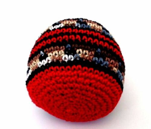 Hacky Sack Boota Bag Crochet Footbag Guatemalan New Multi Color Red