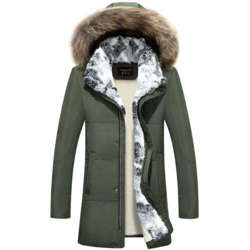 Men/'s Fur Collar Jacket Duck Down Fur Coat Zipper Winter Warm Overcoat Slim Fit
