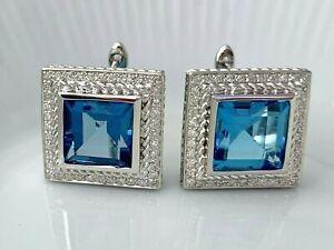 Topaze-Bleu-et-Diamant-Carre-Boucles-D-039-Oreilles-en-Saint-Argent-Lot-14-Bel