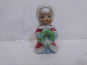 Vintage-Made-In-Japan-Ceramic-Angel-With-Wreath-Christmas-Decoration-ch2336