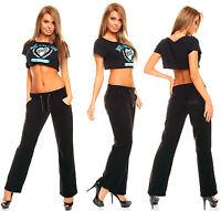 Pantalon Détente Loisir Sport Yoga Gym Homewear Femme Polaire Noir Xs Ou S
