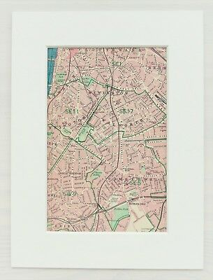 South West London Map.Vintage 1940s London Map Mounted Colour South West Camberwell Lambeth Ebay