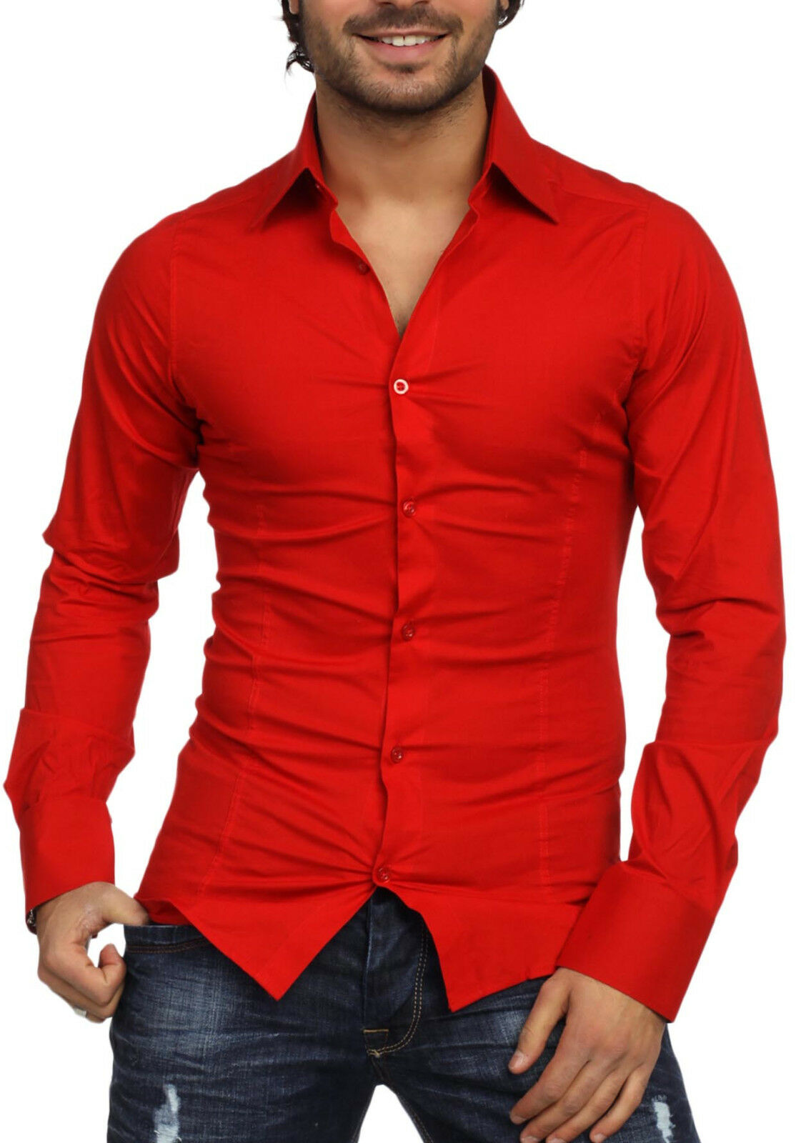 Rossa - Red Men's Long Sleeved Shirt Fashion