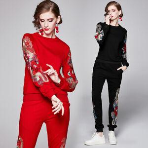Spring-Fall-Winter-2pcs-Women-Set-Dragon-Print-Swearshirt-Pant-Tracksuit-Outfit