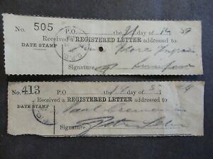 2 MALTA 1924/39 REGISTERED LETTER RECEIPTS