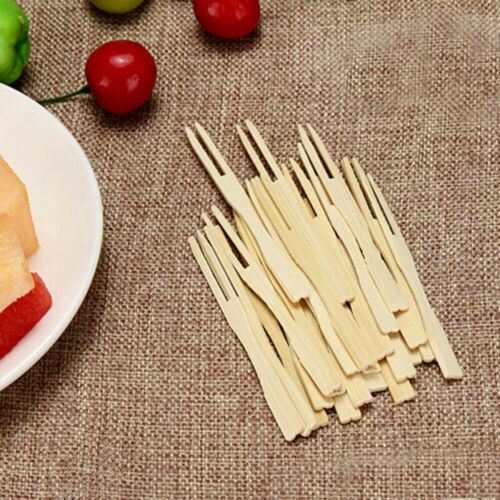 200 Pcs Mini Disposable Bamboo Cocktail Forks Party Pick Fruit Eco-friendly