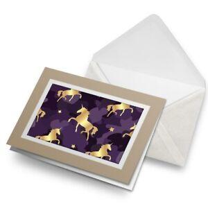 Greetings-Card-Biege-Purple-amp-Gold-Unicorns-Horse-2101