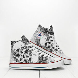 853b3440d7d8 Image is loading Three-Skulls-with-floral-pattern-Custom-Converse-All-