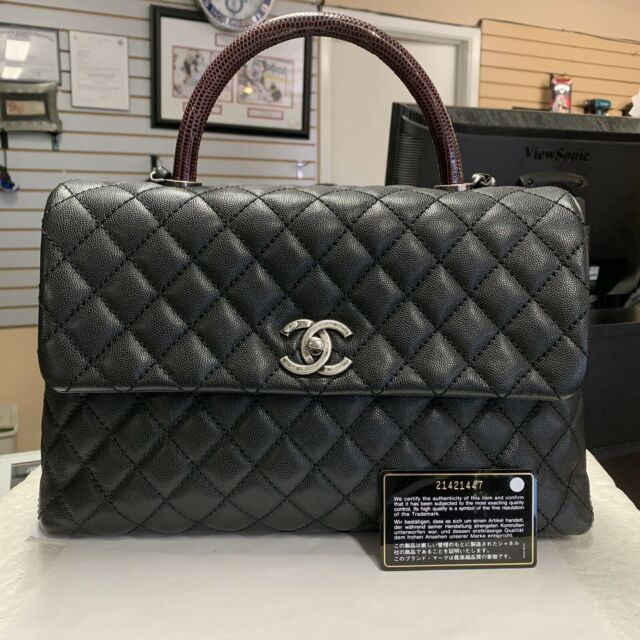 e9f18fbcc84676 CHANEL Black Coco Handle Flapbag Caviar Quilted Bag for sale online ...