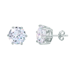 Image Is Loading 925 Sterling Silver Solitaire Stud Earrings W Man