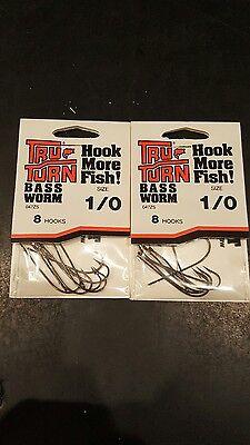 Tru-Turn 5 2 Packs Bass Worm 047ZS Size 4//0 Qty