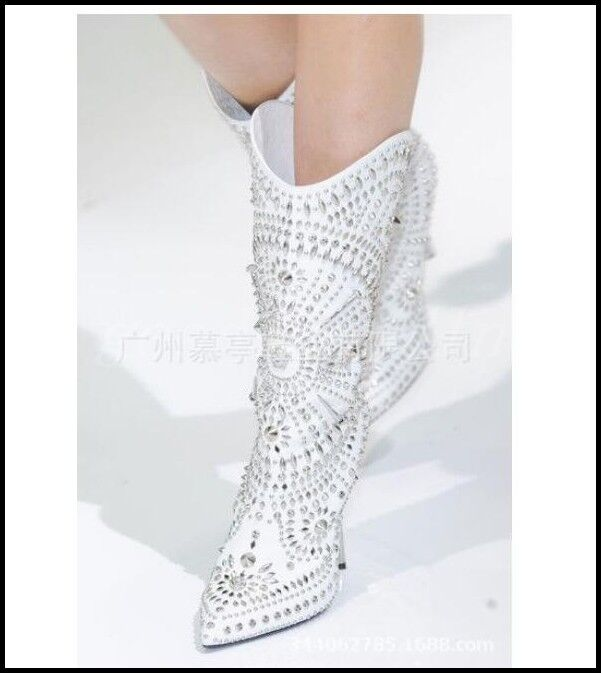 Luxury Donna Metal High Heel LEATHER Rhinstone Rivet Mid-Calf Boot Party Shoes R