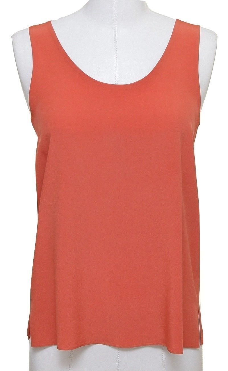 CHLOE Blouse Top Dress Shirt Orange Silk Sleeveless 34 12S 2012