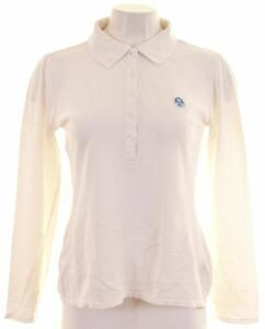 NORTH-SAILS-Womens-Polo-Shirt-Long-Sleeve-Size-10-Small-White-Cotton-AN19